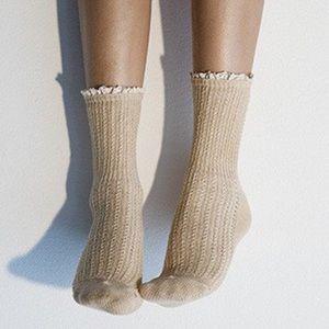 PEONY & MOSS Beige Pointelle Crew Socks